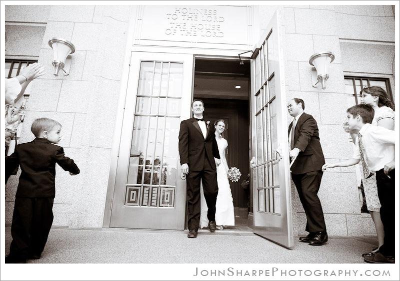 Bride & Groom exit Draper Temple
