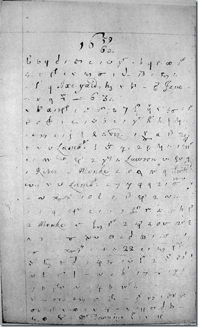Página del diario de Samuel Pepys