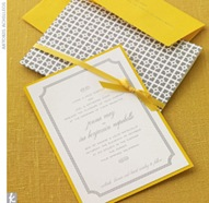 gray and yellow invites