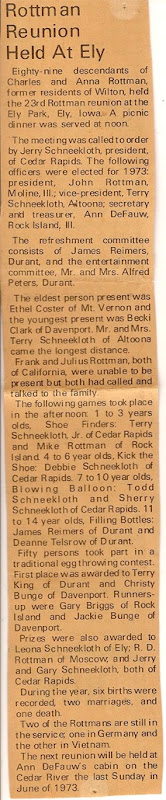 ROTTMAN Family Reunion Article