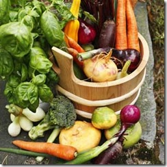 Harvest of vegetables in wooden bin