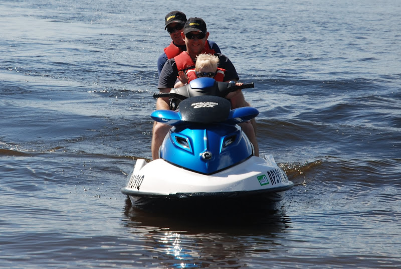 Phil, Andrew and Ben on Tam and Phil\'s Jetski at Somerset Dam