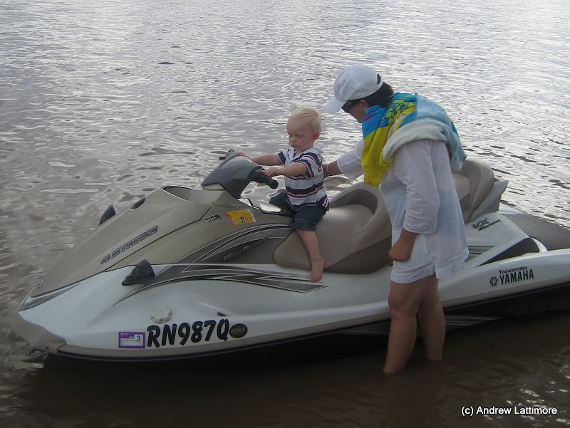Mmmm Jet Ski, just like Uncle Phil\'s and Aunty Tam\'s. This one belongs to Aunty Tina and Uncle Cam. We are at the Chinchilla Weir, which thanks to recent rain is almost 100% full.