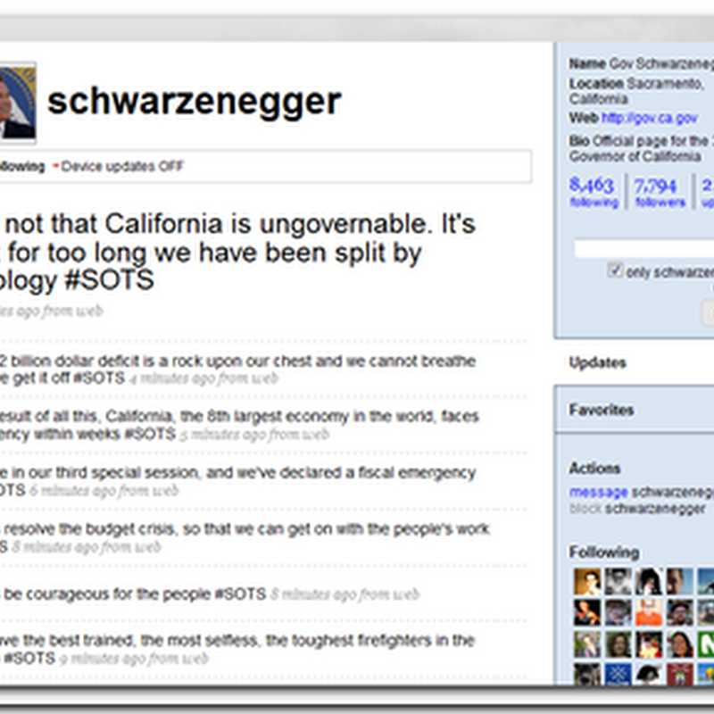 Governor Schwarzenegger Hits Twitter about the State of the State of California