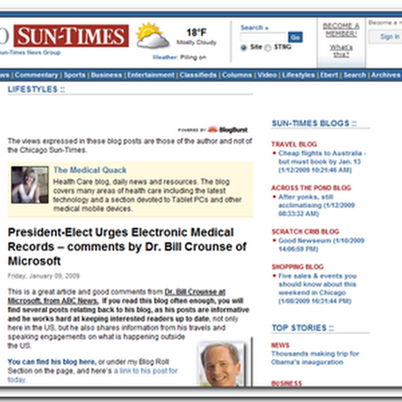 Medical Quack featured on Chicago Sun Times - President-Elect Urges Electronic Medical Records – comments by Dr. Bill Crounse of Microsoft