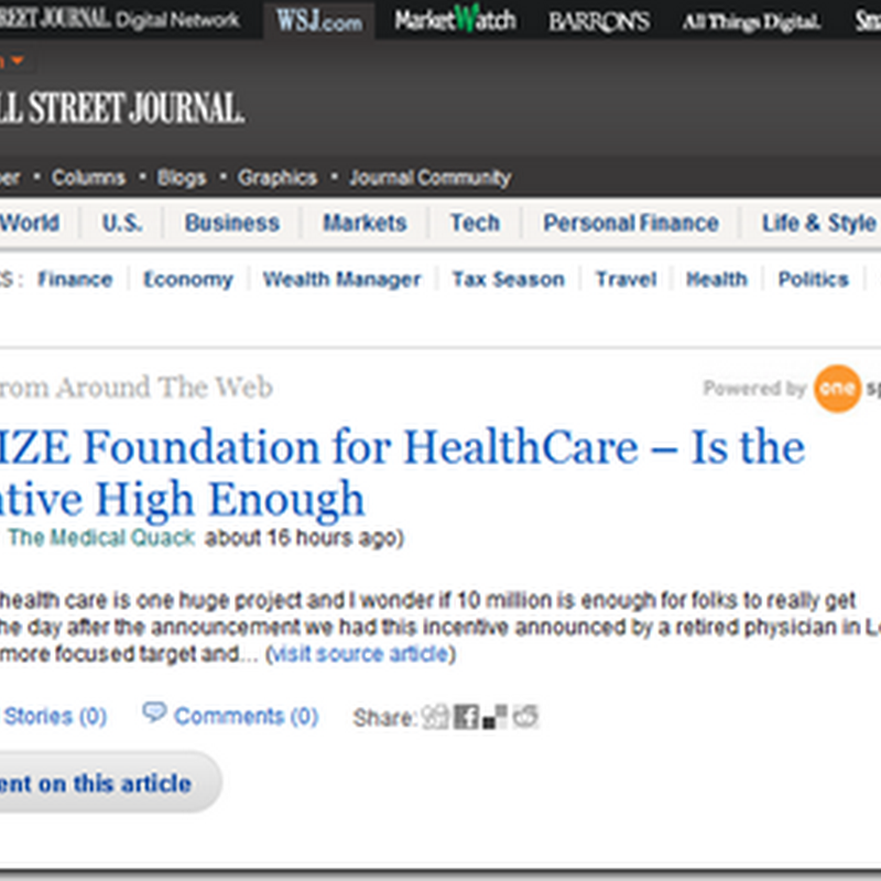 Medical Quack – Health Stories Around the Web on Wall Street Journal