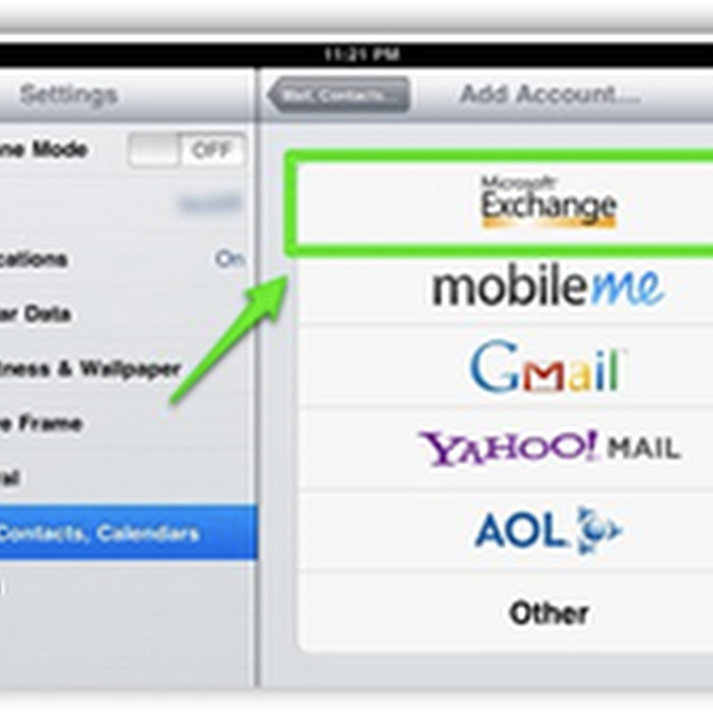 How to import Outlook Email Settings into iPad