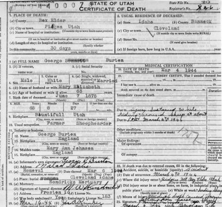 George Burton Death Certificate