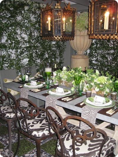 green white brown garden tablescape