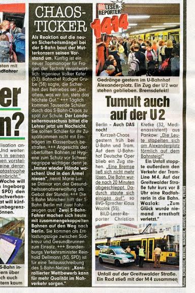 Chaos auch bei der BVG auf der U-Bahnlinie U2. Artikel-Scan aus der BILD-Zeitung