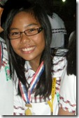 Ms. Khrista Maria Evangelista garners first place for her research report at the 2009 Division Science Quiz Fair