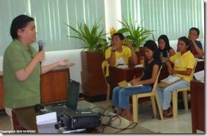 AQD's development communication section head Ms. Mila Castaños lectures on information-education-communication