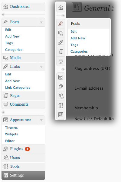 новое меню wordpress 2.7