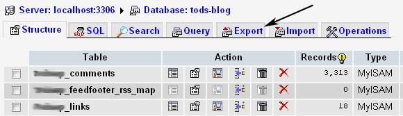 экспорт базы данных phpmyadmin