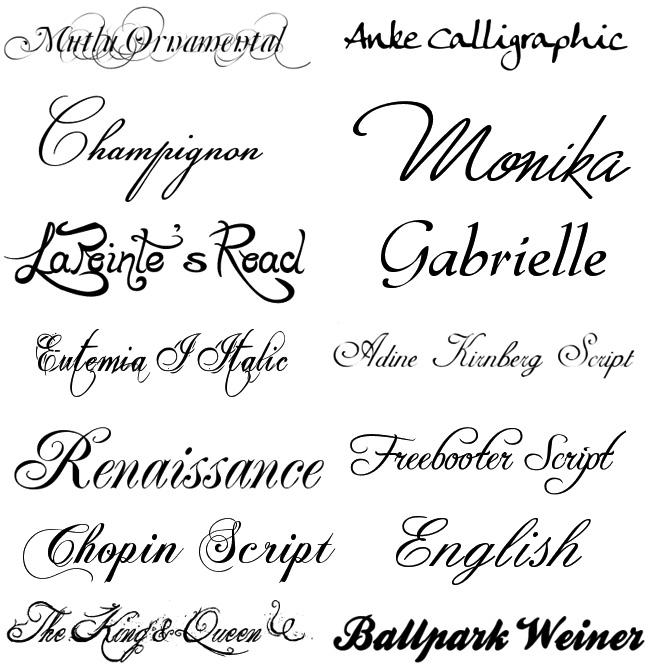 красивые каллиграфические шрифты