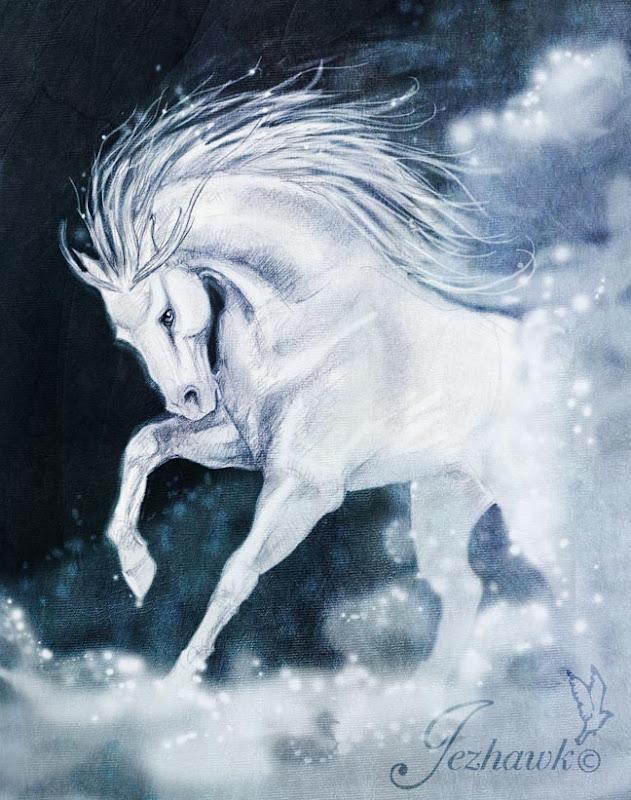 зимняя картинка белый конь
