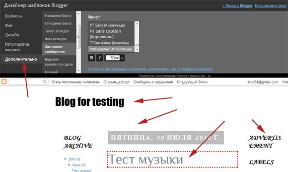 Нестандартные шрифты в Blogger