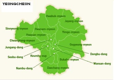 Map of Yeongcheon si Districts