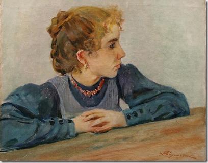 Telemaco Signorini - Ritratto di giovinetta, Olio su tela, cm. 40x48. Collezione Bentivegna- Montecatini T