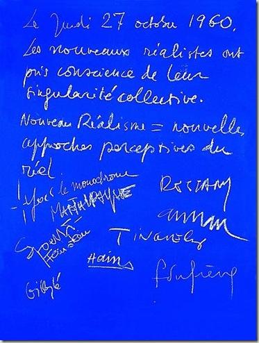 Manifesto della dichiarazione costitutiva del Nouveau Realisme