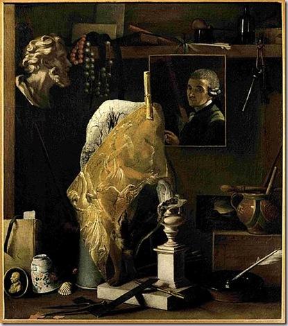 Antonio Cioci -Firenze documentato 1750-1792- Angolo di atelier con autoritratto 1789 Dipinto su tela, cm 67 x 58. Firenze, Galleria degli Uffizi, Corridoio Vasariano