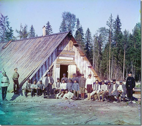 Austrian prisoners of war near a barrack, near Kiappeselga; 1915 Sergei Mikhailovich Prokudin-Gorskii Collection (Library of Congress).