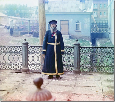 Andrei Petrov Kalganov. Former master in the plant. Seventy-two years old, has worked at the plant for fifty-five years. He was fortunate to present bread and salt to His Imperial Majesty, the Sovereign Emperor Nicholas II, Zlatoust; 1910 Sergei Mikhailovich Prokudin-Gorskii Collection (Library of Congress).