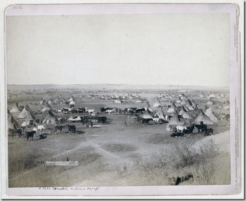 "Title: ""Hostile Indian camp"" Bird's-eye view of a large Lakota camp of tipis, horses, and wagons--probably on or near Pine Ridge Indian Reservation. 1891. Repository: Library of Congress Prints and Photographs Division Washington, D.C. 20540"