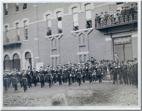 Title: Deadwood. Grand Lodge I.O.O.F. of the Dakotas, resting in front of City Hall after the Grand Parade, May 21, 1890 Group of uniformed men posing in front of a large brick building. Repository: Library of Congress Prints and Photographs Division Washington, D.C. 20540