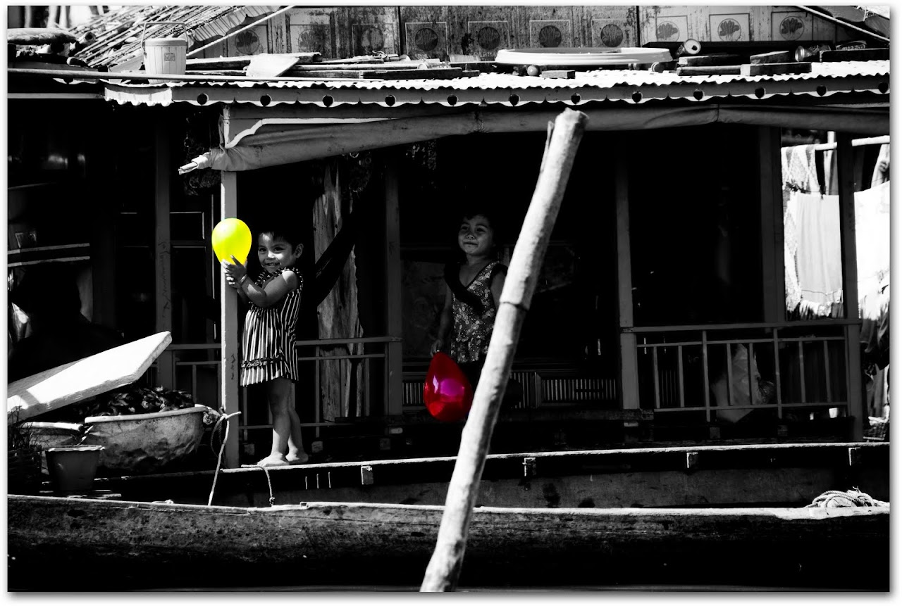 Children with balloons at Kampong Chnnang