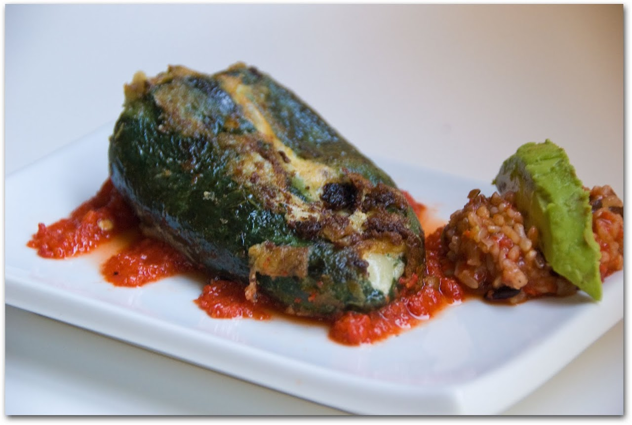 Chile rellenos with roasted red pepper sauce