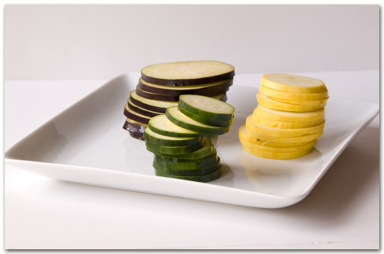 Sliced squash and eggplant