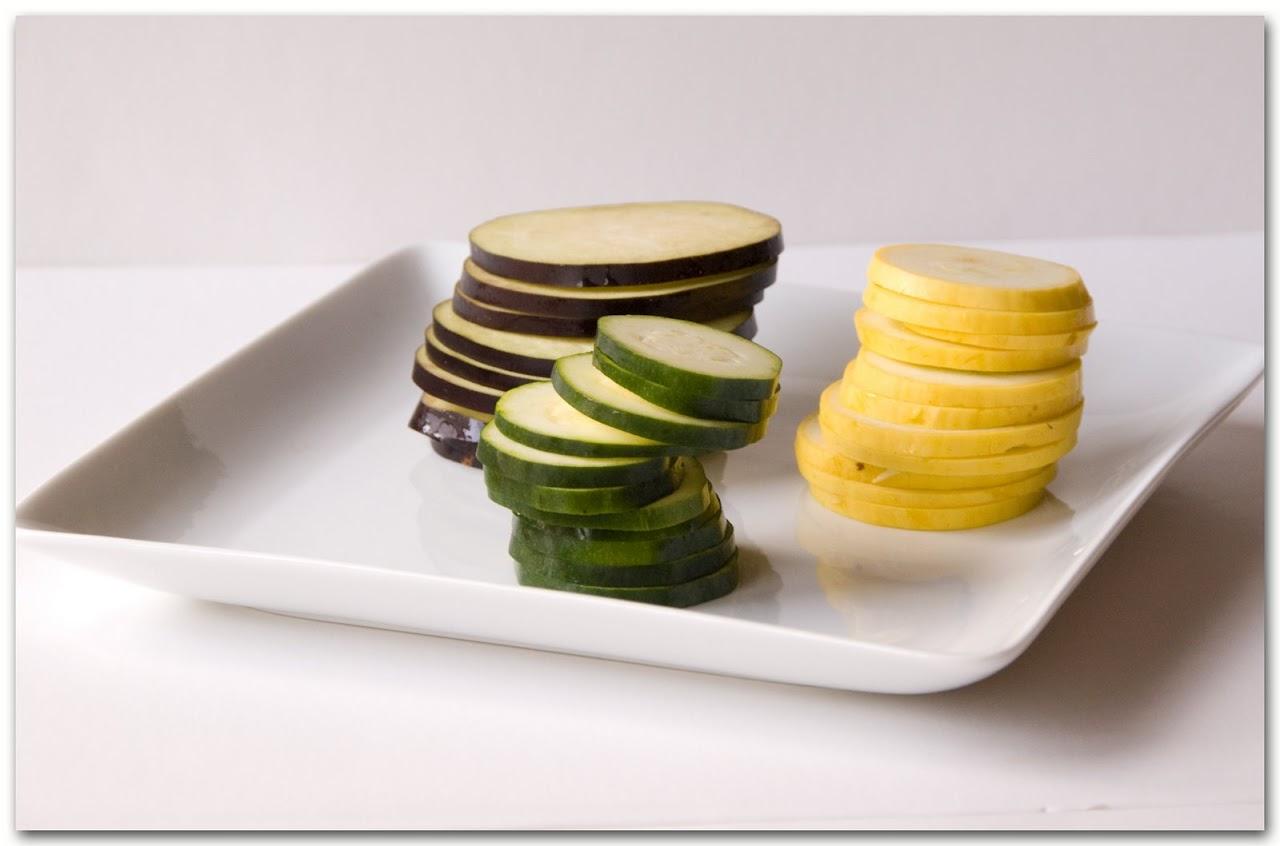 Sliced squash and eggplant