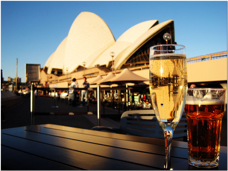 Sydney Opera House with wine