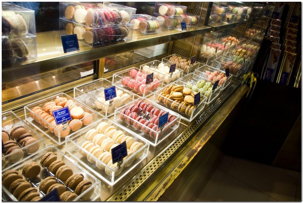 Macaron case in Lindt cafe
