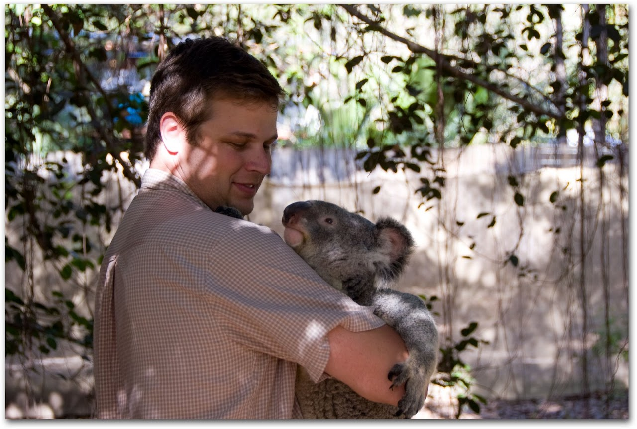 Patrick holding a koala