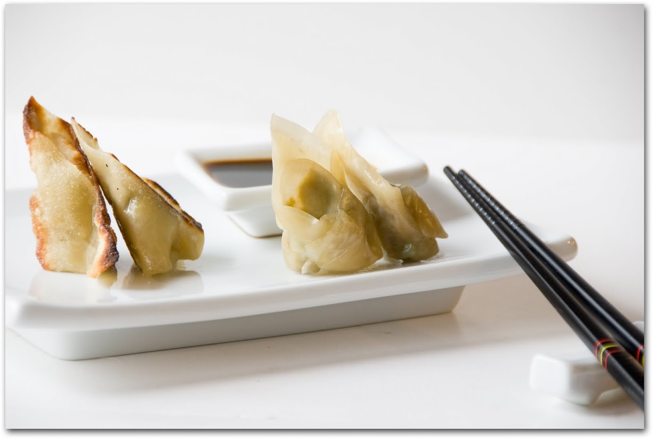 Edamame and plump pea dumplings, sauteed and steamed