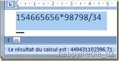 Affichage du résultat de l'évaluation d'une expression arithmétique dans la barre d'état