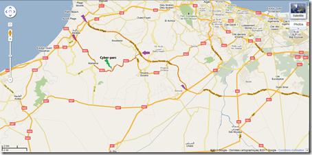 Capture d'écran google map indiquant l'itinéraire pour se rendre au Cyber parc sidi abdellah