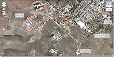 Capture d'écran google Earth indiquant l'itinéraire pour se rendre au Cyber parc sidi abdellah