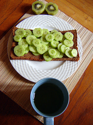 sencha green tea ryebread butter cucumbers kiwifruit