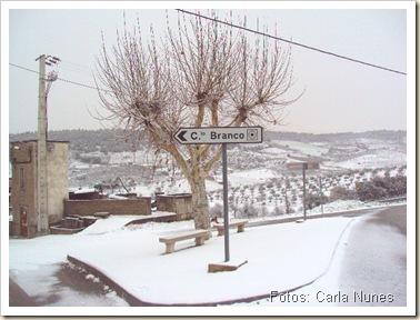 Foto do trinangulo na entrada de Castelo Branco coberto de neve