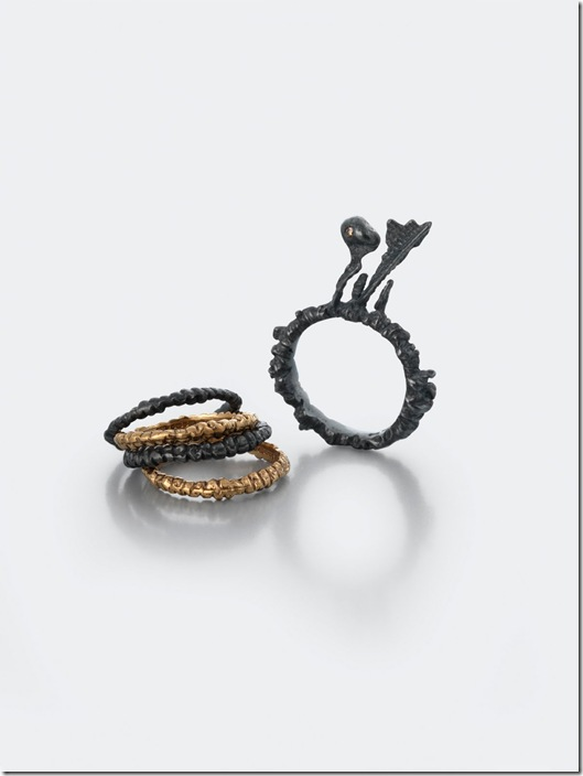 Ros Millar, Black & Rose Collection, Oxidised Silver and Rose Gold Stacking Rings with Brown Diamond, March 2010