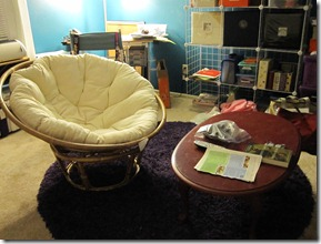Craft room with new papasan chair