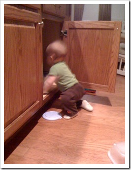 "Reid is helping Momma sort the Tupperware cabinet.  ""Now where is that lid...?"""