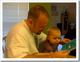 Jer reading to Avery in the winter of 2008. (not sure of the date!!)