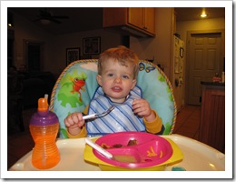 Ethan Martini having dinner during our visit!