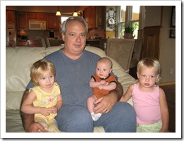 Grandpa with Annabelle, Reid and Avery, 6-21-09