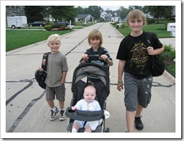 Walking the big boys to the bus stop - Sam, Jack, Will & Reid