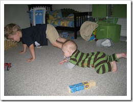 Ethan Martini gives Reid a lesson on crawling 10-6-09